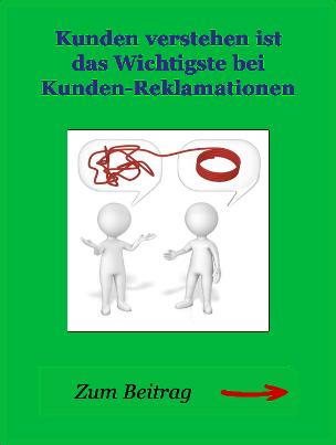 Der Hinweis zum Beitrag Kunden verstehen, von der Autor-Seite, der Reklamations-Experte