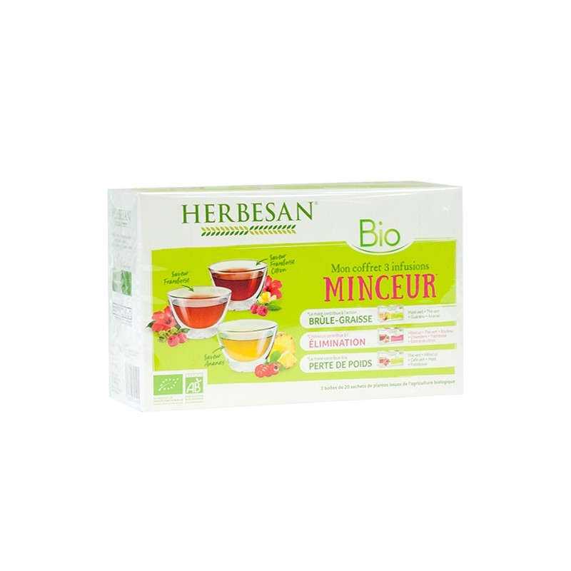 coffret 3 infusions minceur bio 3 boites de 20 sachets herbesan