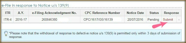 Defective return notice under section 139 9 details submit response pic