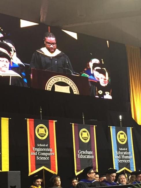 Relando Speaks at Commencement Oakland University 2016