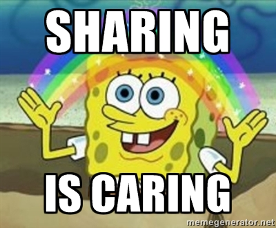 Sharing is caring spongebob rainbow meme