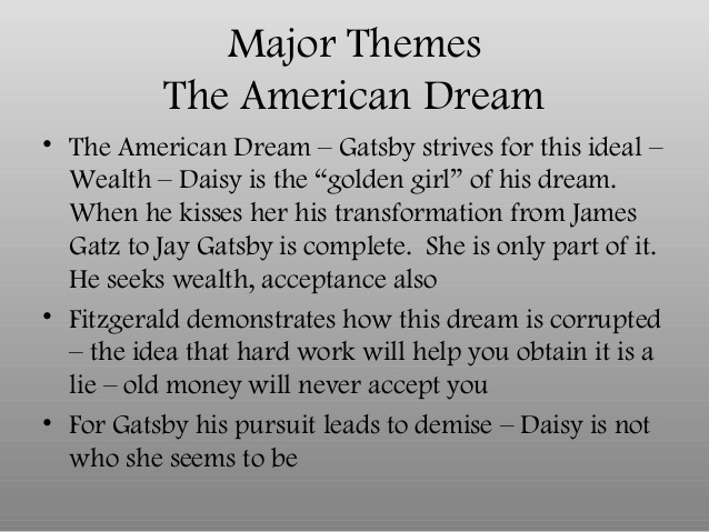 Beau ... American Dream Great Gatsby Thesis Statement Thesis: The Pursuit Of The American  Dream Is A