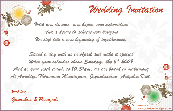 Personal Wedding Card Matter For Friends In English