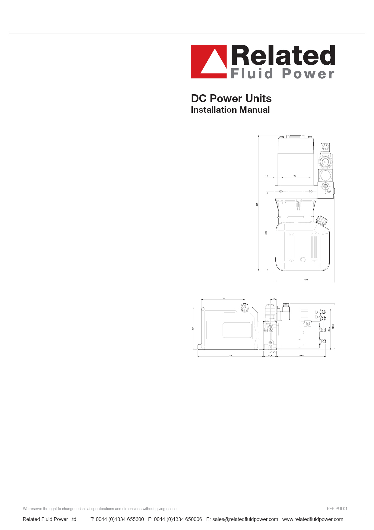 DC Hydraulic Power Units Installation & Maintenance Manual
