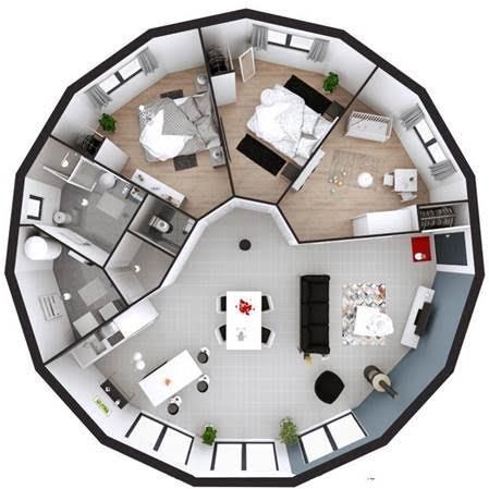 Exemple :  Aménagement maison 15 pans Plain Pied -  Surface au sol : 101 m2 - Largeur des pans de mur : 2.4m