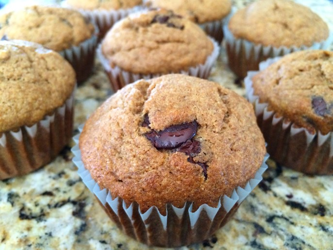 Whole-Wheat Banana Dark Chocolate Chip Muffins