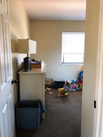 Looking from the hallway into the little man's room. Sisters room is just to the right in this picture.