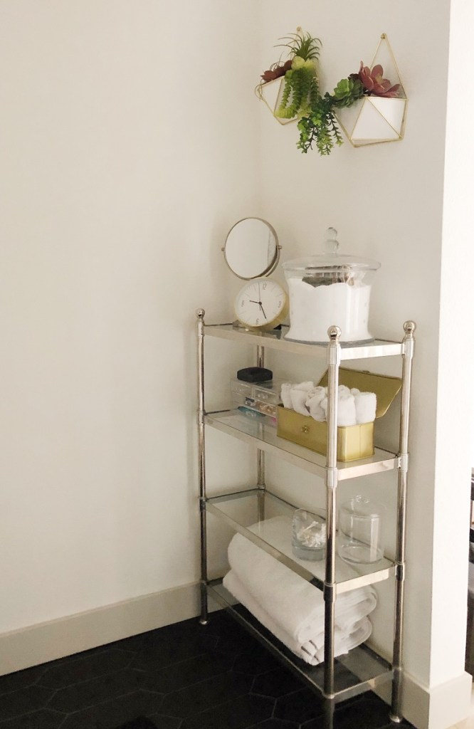 Succulent wall planters. Towel Cart. Gold  and polished chrome accents.