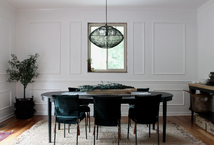 dining room table, slipcover chairs, black pendant lighting