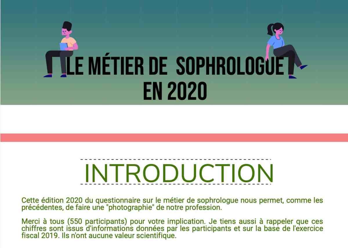 Le métier de sophrologue - Enquête 2020