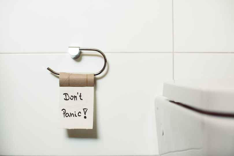 don t panic text on tissue paper