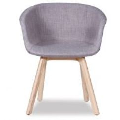 Grey Modern Armchairs Chair Stand Test Results Relax House Lonsdale Arm Natural Solid Ash Wood Frame With Linen Pad