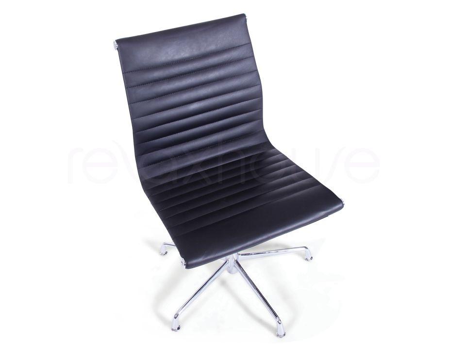eames aluminum management chair replica w h gunlocke group side office black fine grain leather 6