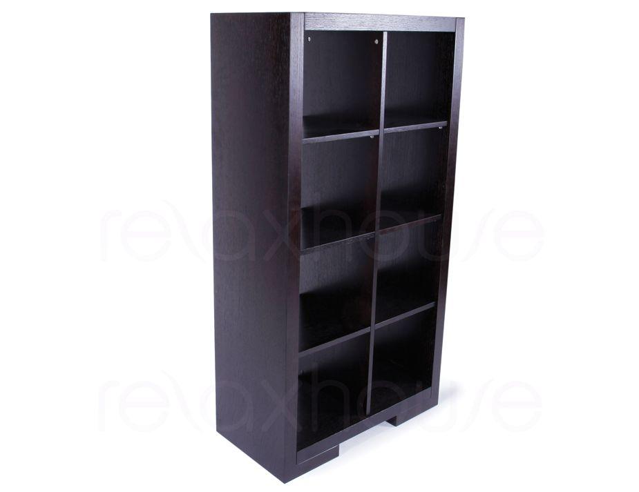 Cube Bookcase Storage Shelving Unit  Dark Oak  8 modules