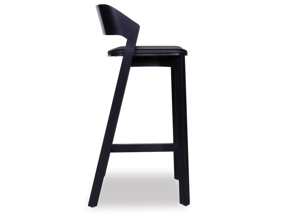 Black Stained Soild Wood Bar Stool with Pad