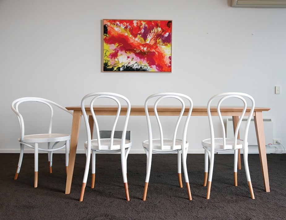 White Bentwood Dining Chair w Natural Socks