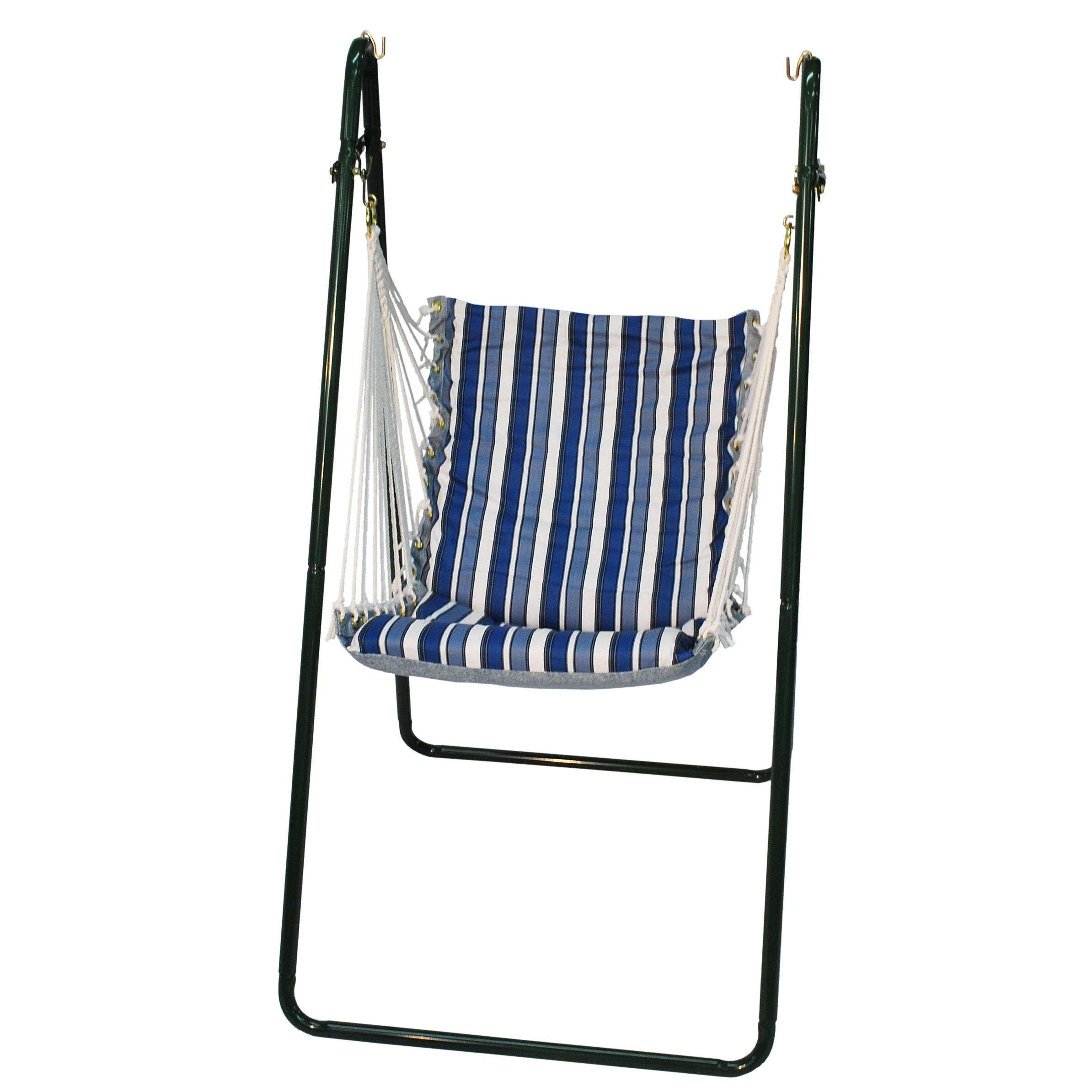 hammock chair with stand outdoor swinging blue stripe algoma swing and set