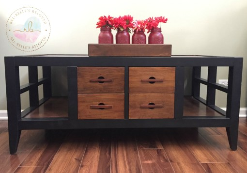 Black and dark stain coffee table