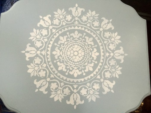 Blue mandala stencilled end table