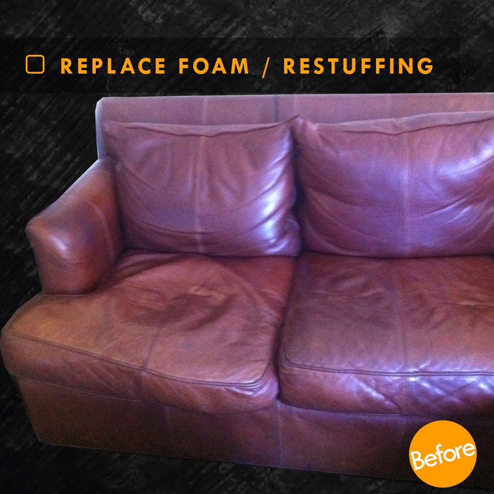 restuffing leather couch cushions and
