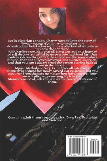 Back cover and blurb of Cherry Nova by Kelly-Marie Pollock