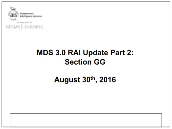 RAI Manual Update Part 2: Section GG