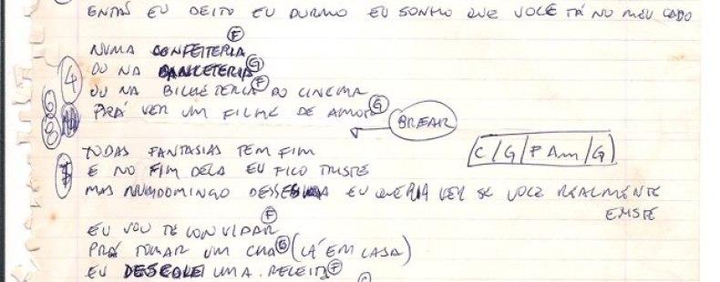 [ACERVO] 'Fazê um Bolo': manuscrito comentado pelo autor, Paulo Mello