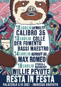RESTA IN FESTA: al via il 12 luglio a Palazzolo (BS) con CALIBRO 35, COLLE DER FOMENTO, MAX ROMEO, WILLIE PEYOTE e molti altri!