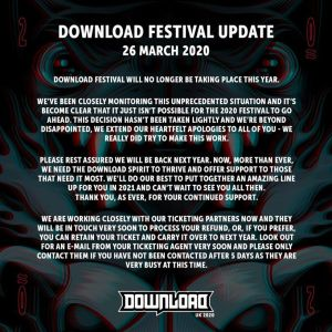 Annullato il DOWNLOAD FESTIVAL 2020