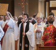 Archbishop Robert Duncan of the Anglican Church of North America prepares to be installed as archbishop in a June 24, 2009 ceremony at Christ Church in Plano, Texas.  Religion News Service photo courtesy Suzanne Gill/ACNA.