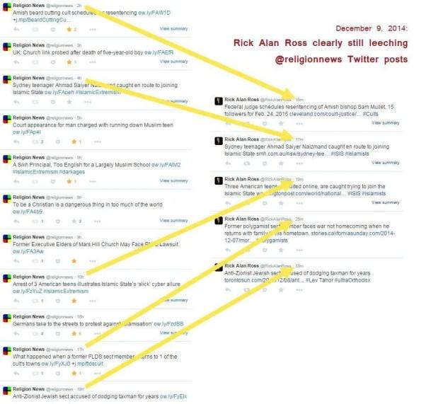 Rick Alan Ross leeching Religion News Blog's Twitter posts