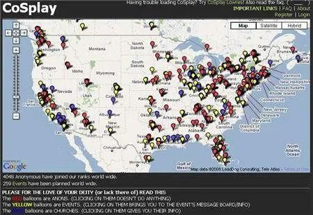 Anonymous vs Scientology map