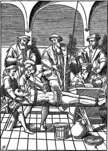 """The Water Torture.- Facsimile of a Woodcut in J. Damhoudère's Praxis Rerum Criminalium: in 4to, Antwerp, 1556."" - Used to illustrate http://en.wikipedia.org/wiki/Water_cure"