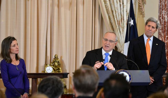Newly sworn in Ambassador-at-Large David Saperstein delivers remarks during a ceremony in his honor at the U.S. Department of State in Washington, D.C., on February 20, 2015. [State Department photo/ Public Domain]