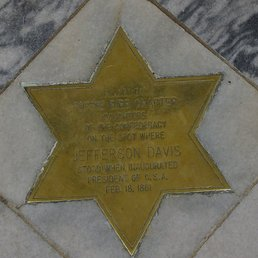 The star marking the place where Jefferson Davis was sworn in