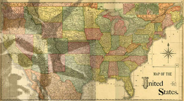 United States - 1886 map - adapted from NEGenWeb Project