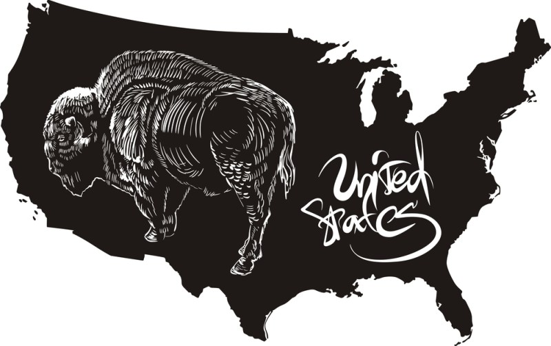 American buffalo and U.S. outline map