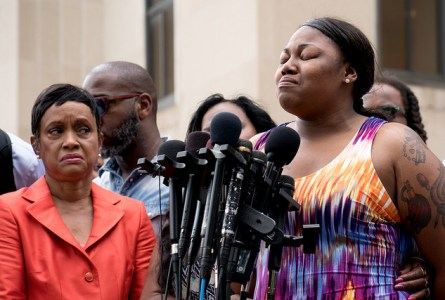 Allysza Castile (Philando's sister) speaking outside the Ramsey County Courthouse in St Paul, MN after a not guilty verdict was reached in the trial of Officer Jeronimo Yanez in the killing of Philando Castile last July. (Photo: Lorie Shaull. CC-BY SA 2.0.)