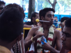 Thaipusam participant (Singaporean version of the same ritual that Xygalatas studies in Mauritius) Photo by Justin Lane