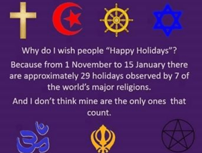 Celebrations by various religions near Christmastime