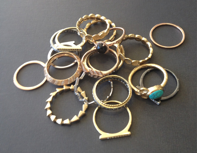 I'm loving stackable rings and knuckle rings right now. They add a unique feel to any outfit and they're fun to layer.