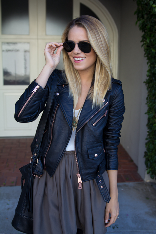 I am obsessed with this Club Monaco leather jacket with rose gold hardware. It's on my wish list.