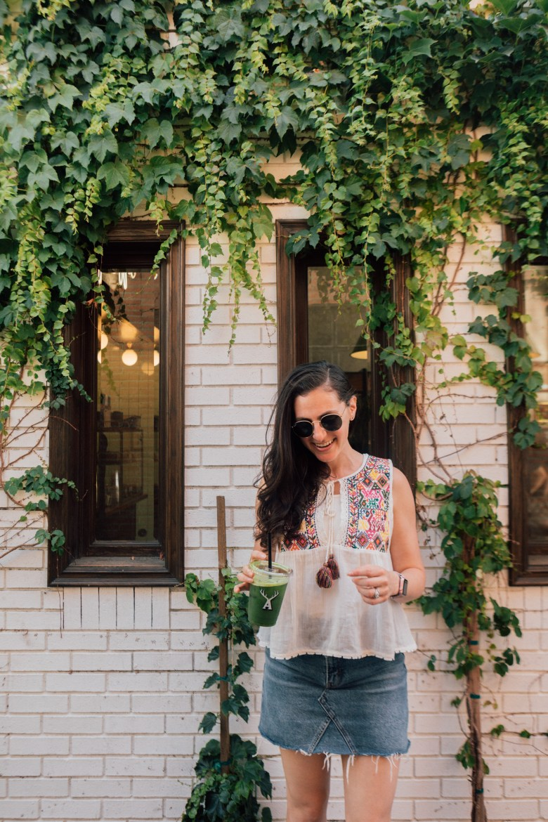 Lifestyle blogger Arielle Worona of Relish By Arielle wearing Free People's embroidered boho top