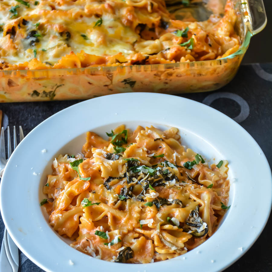 Baked Pasta In Creamy Spinach Rose Sauce Relish The Bite