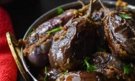 Peanuts Masala Stuffed Eggplant/ Bharwan Baigan