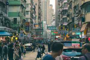 crowded streets in hong kong