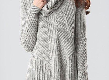 A-line Long Sleeve Wool Blend Simple Sweater with Scarf
