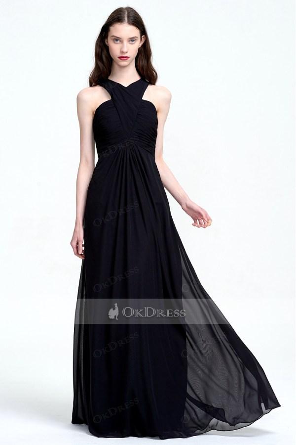 Discount Straps Black Chiffon Empire Long Bridesmaid Dresses