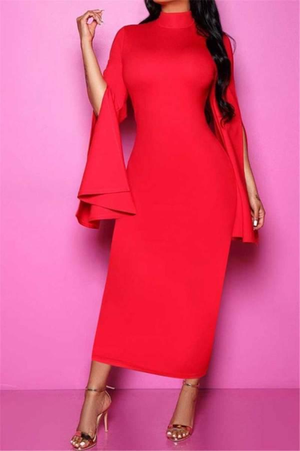 Plus size solid color stretch high-neck irregular sleeves elegant stylish dress