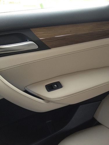 BMW X3 rear door trim - fine lined light wood trim, oyster leather, and black plastic trim